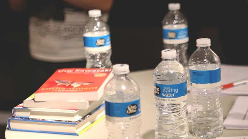 water bottles sitting on a table